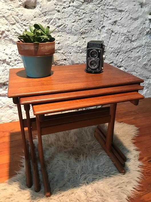 mid century nesting tables danish modern nesting table mid century end table by VintaDelphia
