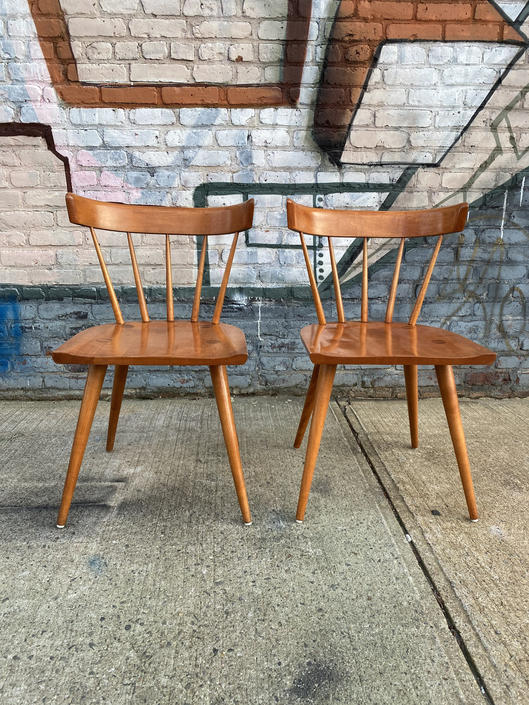 Pair Vintage mid century American Paul Mccobb Planner group dining side chairs original condition spindle back by symmetrymodern