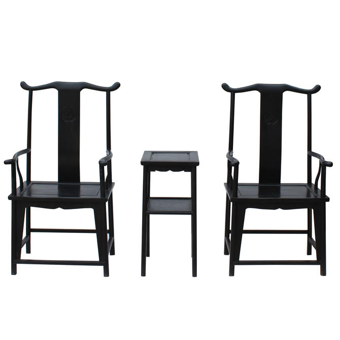 Chinese Traditional Tan Wood Yoke-Back Armchair Set w Small Table cs5071E by GoldenLotusAntiques