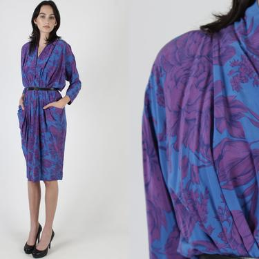 Vintage 80s Purple Floral Silk Dress / Solid Violet Cocktail Party Outfit / Deep V Neck Dress With Pockets / Slim Fitting Wiggle Mini Dress by americanarchive