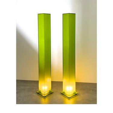 6 Ft Pair of Vintage Green Lucite Column Floor Lamps by Shlomi Haziza by 20cModern