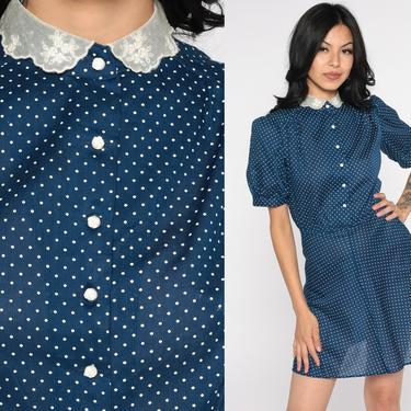 Polka Dot Dress Mini Puff Sleeve Lace Peter Pan Collar 80s Jodi T Dress Secretary High Waisted Navy Blue Semi-Sheer 1980s Vintage Small xs s by ShopExile