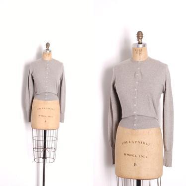 Vintage 1950s Sweater / 50s Ballantyne Cashmere Cardigan / Gray ( large L ) by lapoubellevintage