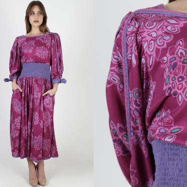 Jeanne Marc Dress / 80s Magenta Abstract Floral Dress / Pink Purple Bouquet Flower Print / Puff Sleeve Hip Pockets Maxi Dress Size 8 by americanarchive
