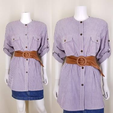 1980s Purple Striped Cotton Blouse, Large ~ Lavender Button Up Blouse ~ White Striped Long Line Twill Shirt ~ Retro Roll Tab Roll Sleeve Top by SoughtClothier