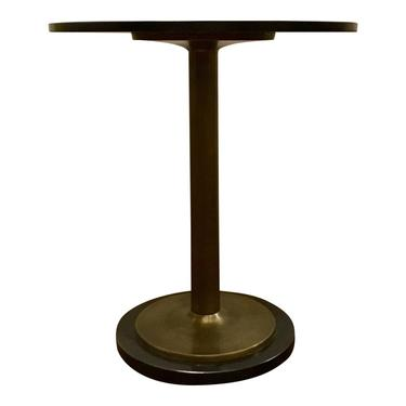 Currey and Co. Modern Black Marble and Antique Brass Side Table
