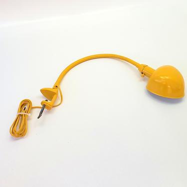 Yellow Desk Clamp Lamp Industrial Steel Art Deco Antique Goose Neck Vise Light Table Lamp Adjustable Office Lighting Metal Shade Marigold by MakingMidCenturyMod