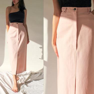 Vintage 80s Norma Kamali for Neiman Marcus Light Pink Denim High Waisted Pencil Skirt   UNWORN w/ Tags   1980s OMO Designer Boho Denim Skirt by TheVault1969
