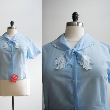 Vintage 1950s Pale Blue Blouse / Vintage Plus Sized Blouse / Button Down Blouse / 1950s Tie Front Blouse / Vintage Blouse with Bow XL by milkandice