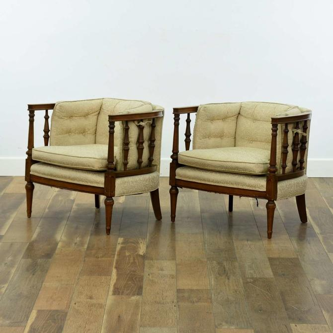Pair Low Profile American Colonial Barrel Back Chairs