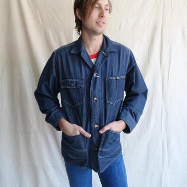 Vintage 70s Dark Wash Chore Coat/ 1970s Denim Jacket with Contrast Stitching/ Work Coat/ Patch Pockets/ Size 38 Medium by bottleofbread