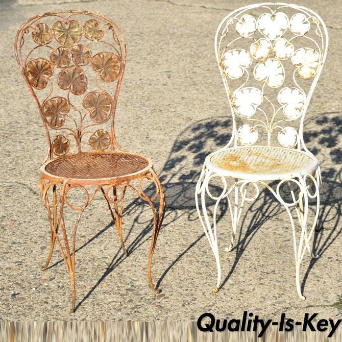 Antique French Art Nouveau Flower Maple Leaf Wrought Iron Garden Chairs - a Pair