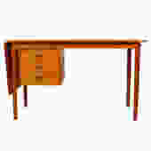 Arne Vodder Teak Desk w/ Adjustable Drawers and Drop Leaf