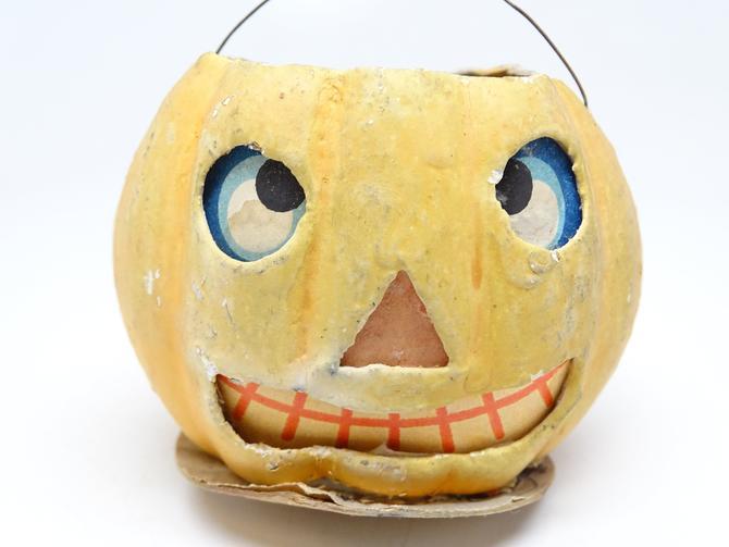 1930's German Jack O Lantern, Antique Pressed Cardboard for Halloween, Vintage All Original by exploremag