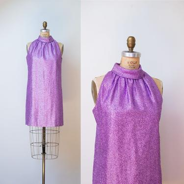 1b8bb4b273c 1960s Lavender Lurex Mini Dress   60s Mod Gogo Purple Metallic Dress by  FemaleHysteria