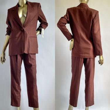1980's Linen Blend Two Piece Set High Waist Trousers with Oversized Blazer Chocolate Brown NWT by BeggarsBanquet