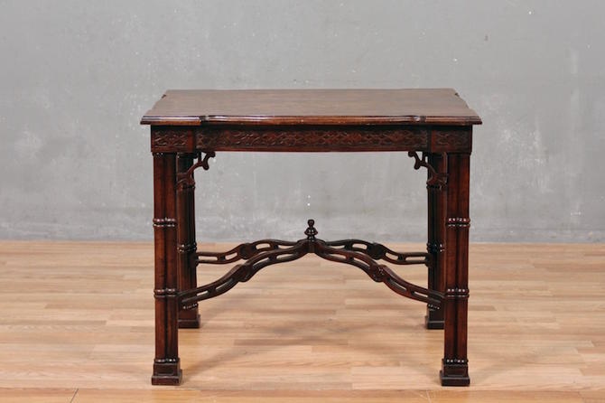 Ornate Burl Mahogany Console Table – ONLINE ONLY