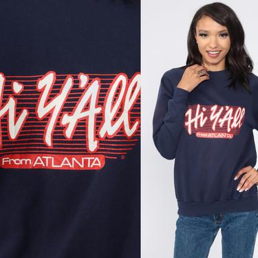 Atlanta Sweatshirt He Y'all Shirt Georgia Shirt 80s Raglan Sleeve 90s Vintage Navy Blue Graphic Sweatshirt Crewneck Small Medium by ShopExile