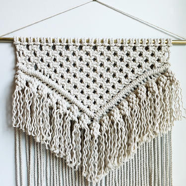 Large Macrame Wall Hanging with brass dowel by JungleandLoom