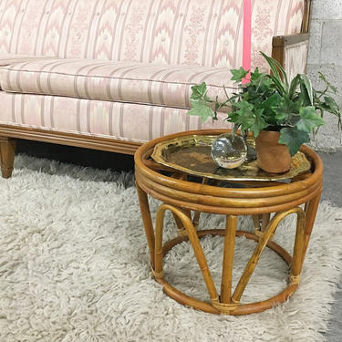 Vintage Rattan End Table Retro 1980s Bohemian Plant Stand or Stool + Side Table + Round Circular + Bentwood + Indoor + Outdoor + Patio Decor by RetrospectVintage215