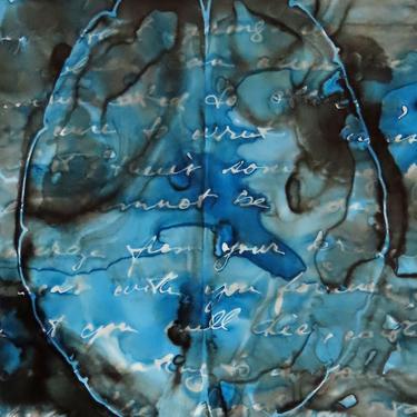 Hidden Thoughts: Original ink painting on yupo of neurons - neuroscience art literature Dostoevsky by artologica