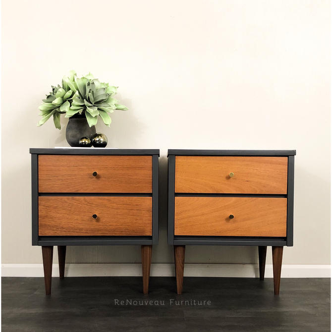Mid Century Modern Nightstand Set, End or Accent Tables by RenouveauFurniture