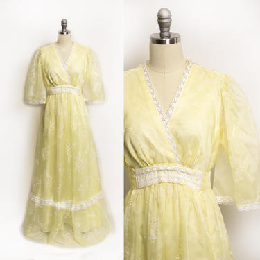1970s Dress Chiffon Floral Yellow Maxi Boho Gown 70s Large by dejavintageboutique