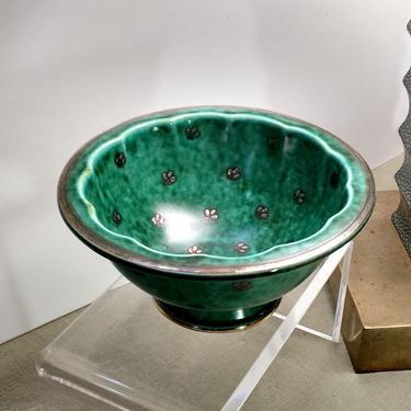Vtg Gustavsberg Argenta Wilhelm Kage  948 Green Footed Scalloped Edge 6x3 Bowl Silver Trim Ceramics Pottery 1945 Modernist Sweden Ex Cond by FultonLane