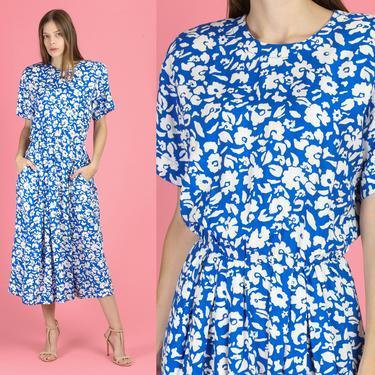 80s Blue Floral Pocket Midi Dress - Medium | Vintage Button Back Short Sleeve Fitted Waist Dress by FlyingAppleVintage
