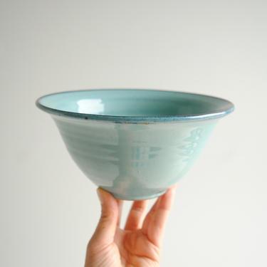 Vintage Ceramic Colander, Pottery Colander Strainer, Turquoise Blue Pottery Colander by LittleDogVintage