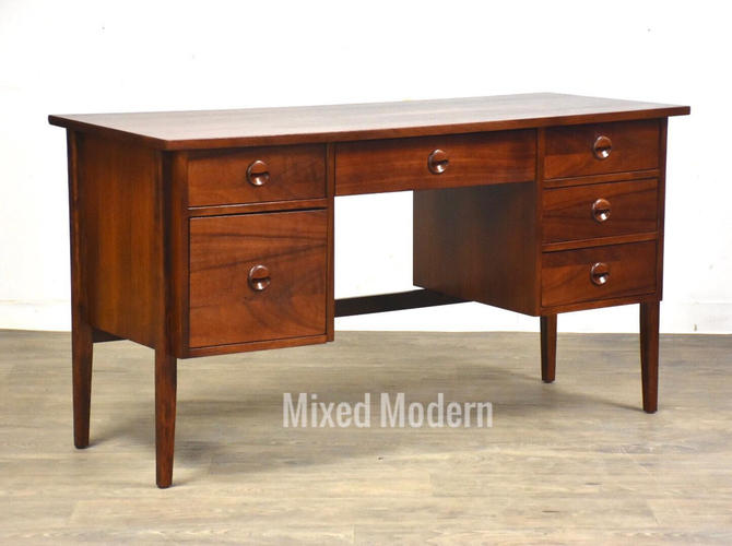 Walnut Executive Desk by Stanley by mixedmodern1
