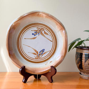 Vintage Studio Pottery Plate / Handmade Hand Painted Platter Saucer / Japanese Style Wavy Edge Mid Century Modern Ceramic Decorative Tray by Hawksbride