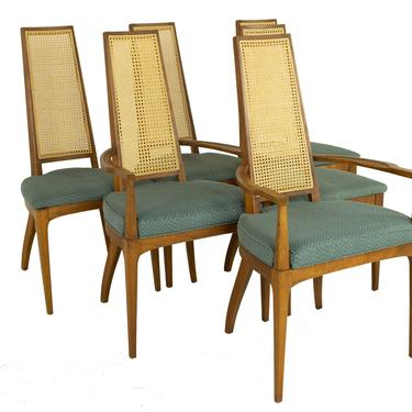 Lane Rhythm Style Mid Century Walnut and Cane High Back Dining Chairs - Set of 6 - mcm by ModernHill