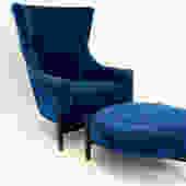 Jens Risom Style Kroehler Blue Big Chair & Ottoman