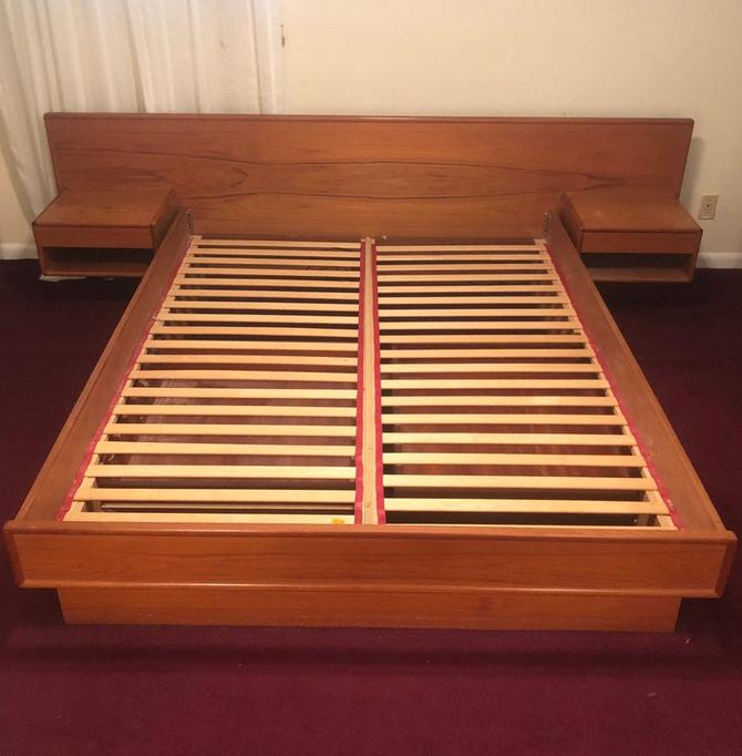 Mid-Century Teak Bed Frame w/Floating Nightstands - Queen by secondhandstory
