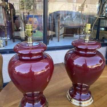 Rich and Inviting   Pair of Large Burgundy Ceramic Lamps
