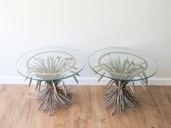 Vintage French Provincial Floral Gold Metal Harvest Side Tables with Thick Glass Tops (Sold Separately) by PortlandRevibe