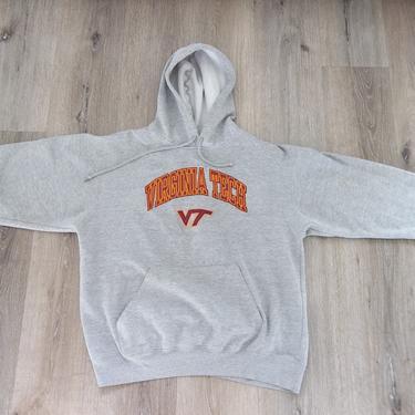 Vintage Sweatshirt Hoodie Virginia Tech University Grey Small Distressed Preppy Grunge College Casual Streetwear 90s 00s by RetroVintageClothing