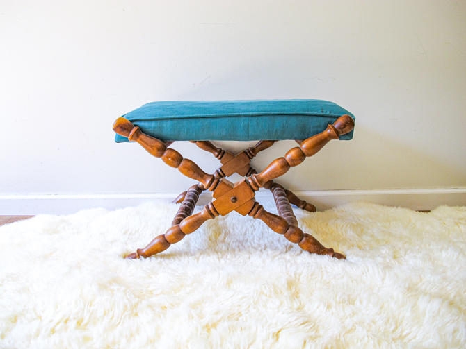 Mid-century Wood Stool with Fabric Cushion by Tell City in Indiana by PortlandRevibe