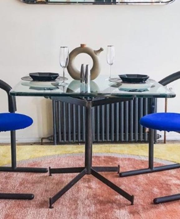 Iron+ Glass Top Dining Table