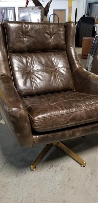 Restoration Hardware Motorcity Leather Swivel Chair