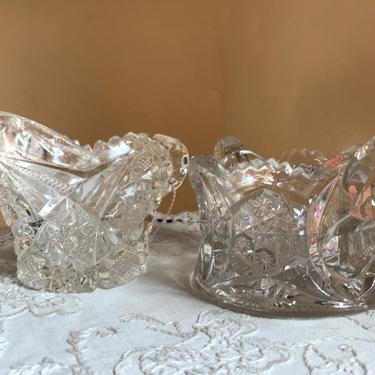 Vintage Cut Lead crystal  Cream and Sugar Set -Nice condition. by JoAnntiques