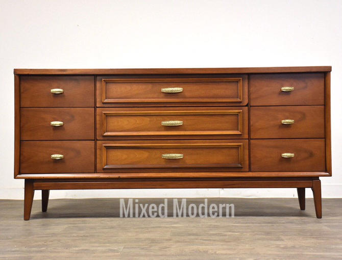 Walnut and Brass Mid Century Dresser by mixedmodern1