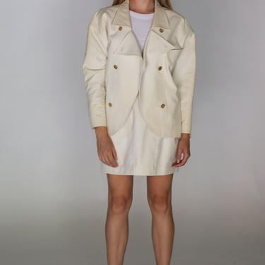 Vintage CHANEL 1990s White Cotton Skirt Suit with Gold Logo Buttons 90s S CC Minimal Blazer Pockets Boutique by backroomclothing