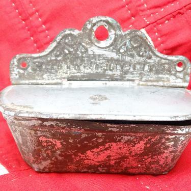 Antique 1879 Tin Match Safe Holder with Striker, Vintage Shabby Primitive Farm House, Victorian Wall Mount by exploremag