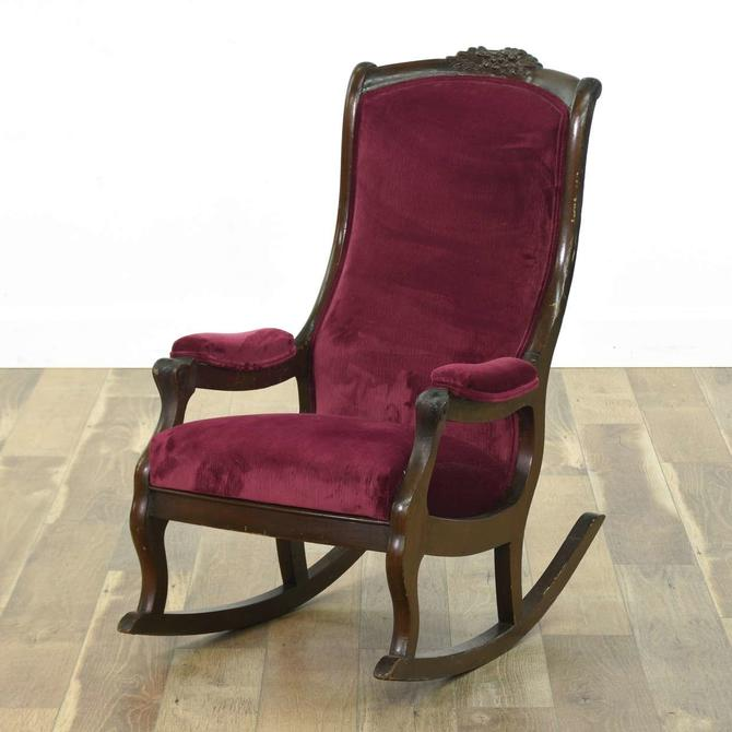 Victorian Rocking Chair W Maroon Velour Upholstery