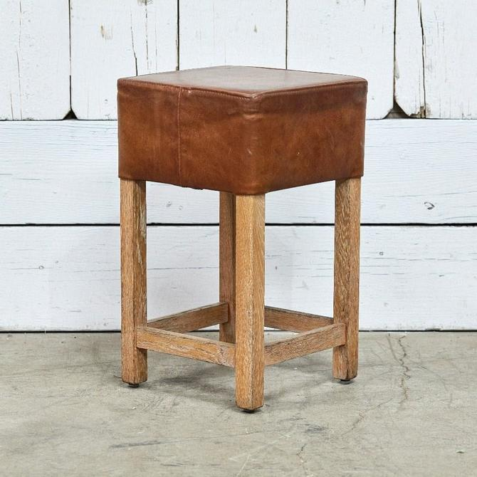 Square Leather Counter Stool
