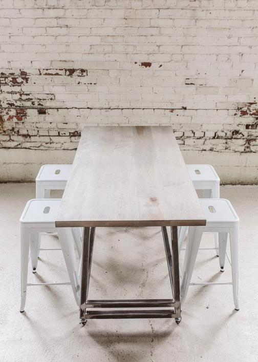 Home Pub Table - Portable Whitewashed Maple Bar Top Table with Industrial Steel Leg Base by StocktonHeritage