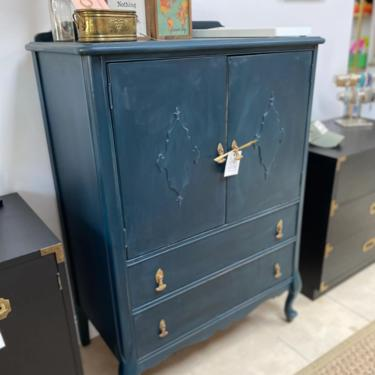Tall vintage dresser in blue by StylishPatina