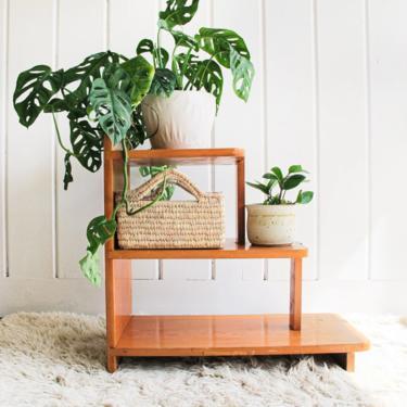 Vintage Solid Wood Midcentury Three-Tier Shelf by PortlandRevibe